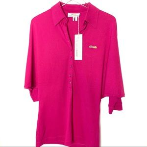 Lacoste Malandrino Pink Batwing Polo Style Top NWT